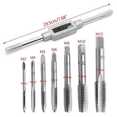 $10.96 • Buy 8 Pcs Hand Screw Thread Metric Plug Tap Set M3-M12 With Adjustable Tap Wrench