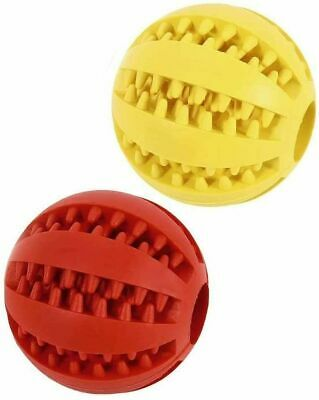 £3.99 • Buy Rubber Dog Ball Chew Toy Food Treat Feeder Tooth Cleaning 3 Colours Choose Qty