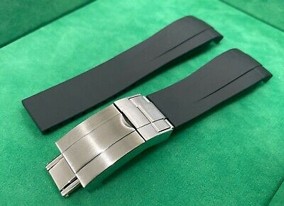 £29.50 • Buy 21mm OysterFlex Curved Silicone Rubber Strap Clasp For Rolex SeaDweller Deep Sea