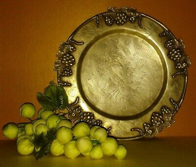 £18.11 • Buy Plate Tray Charger Solid Brass Grape Edging Hand Etched Design