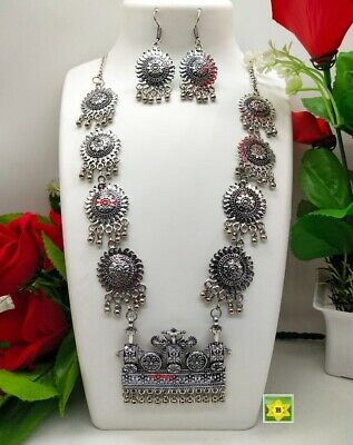 £14.99 • Buy ASIAN Silver Oxidised Ethnic Tribal Costume NECKLACE With EARRINGS JEWELLERY