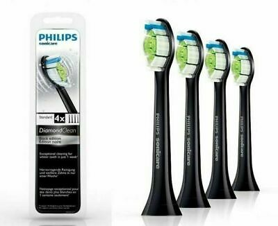 AU37.27 • Buy Philips Sonicare DiamondClean Standard Size Black Toothbrush Heads - 4 Pack