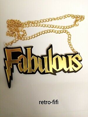 £9.50 • Buy LARGE WORD 'FABULOUS' LASER CUT ACRYLIC NECKLACE.2x4  GOLD MIRRORED EFFECT. NWOT