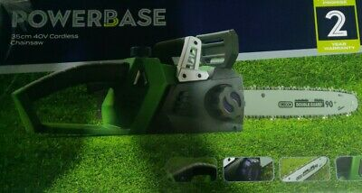 £84.65 • Buy Powerbase Chainsaw 35cm 40V Cordless / 2 Batteries / Double Battery Charger/ NEW
