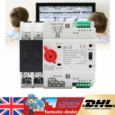 £34.99 • Buy 220V Dual Power Automatic Transfer Switch 2P 100A PC Level Dual Power Switch TOP