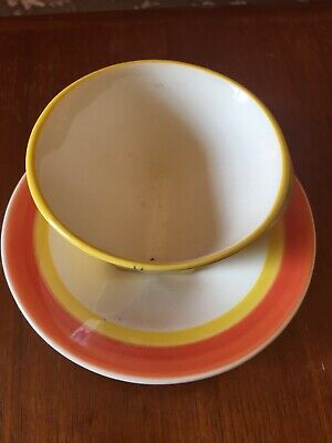 £69.99 • Buy Rare Moorland Pottery Clarice Cliff Design Crocus Pattern Conical Cup And Saucer