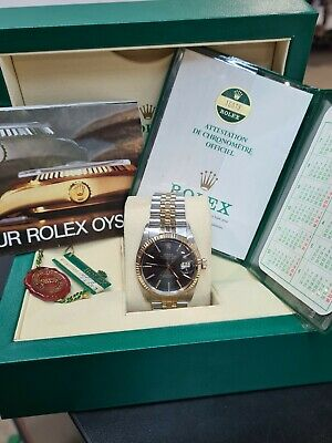 $ CDN9088.31 • Buy Rolex Datejust 36mm Ref. 16013 Box & Papers - Rare Black Tapestry Dial