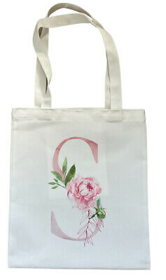 £4.99 • Buy Personalised Letter ~ White Tote Bag Shabby Chic Birthday Bridesmaid Bag Gift