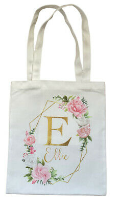 £4.99 • Buy Personalised Geo Letter ~ White Tote Bag Chic Birthday Bridesmaid Bag Gift