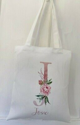 £4.99 • Buy Personalised Letter/name ~ White Tote Bag Chic Birthday Bridesmaid Bag Gift