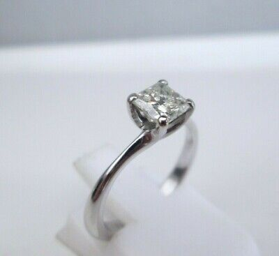 £1200 • Buy 18ct White Gold .75ct Princess Cut Natural Diamond Solitaire Engagement Ring