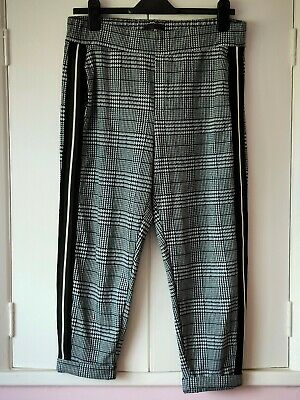 £5.99 • Buy Next Petite Black And White Dogtooth Checked Trousers With Side Stripes Size 14