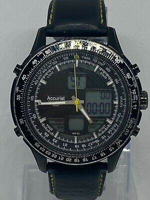 £3.60 • Buy Accurist Skymaster MS930BY CAL.BJ3547 Gent Digital Watch Black Leather Strap