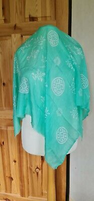 $5.51 • Buy Silk Georgette Fabric Colour Mint Green - 1m Square With White Motifs
