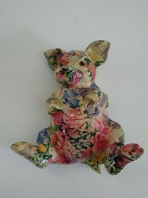 £18.10 • Buy Decoupage Pig Figure Patchwork Flowers Pink Multicolor Flat Back Made In Canada
