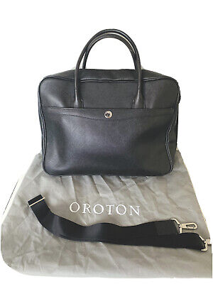 AU95 • Buy NEW OROTON Melanie Briefcase Tote Bag Saffiano Leather Navy Tags Dustbag RRP695