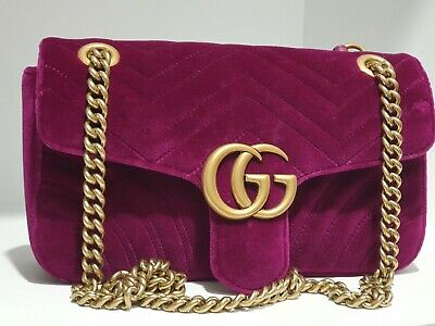 AU1999 • Buy Gucci Marmont Velvet Handbag Genuine In Box Hardly Used Mint Condition