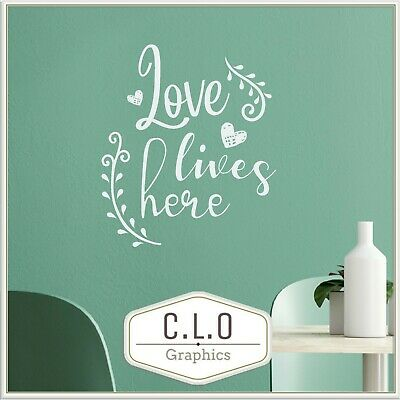 £6.99 • Buy Beautiful Quote Wall Sticker Vinyl Art Transfer Decor Decal Love Lives Here UK