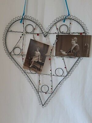 £3 • Buy Wire Heart Photo Display Holder With Bead Detail Good Condition