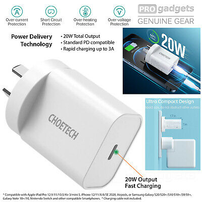 AU24.99 • Buy Genuine Choetech 20W Charger Type C Wall Fast Adapter For IPhone 12/ Pro AU Plug