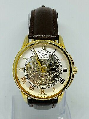 £7.49 • Buy Rotary GS03862/01 Men Mechanical Watch Brand New Brown Leather Strap