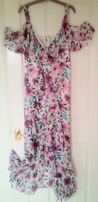 £4.99 • Buy Long Floaty Frilled Floral Summer Spanish Style  Dress From Very Size 14
