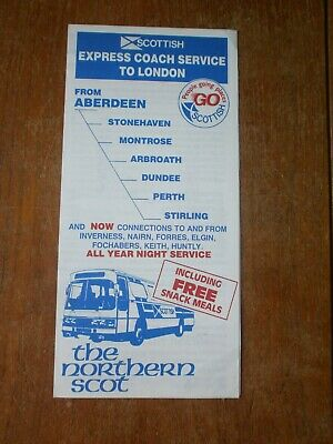 £1.50 • Buy Northern Scottish Timetable Leaflet-The Northern Scot Coach Service To London