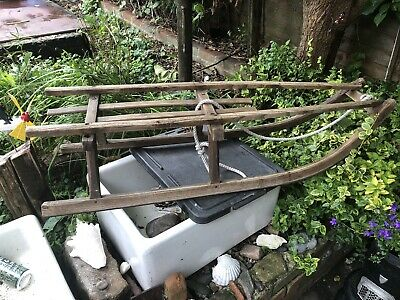 £72 • Buy Antique Victorian Solid Wooden Sledge With Metal Runners Snowday Prop Display!!!