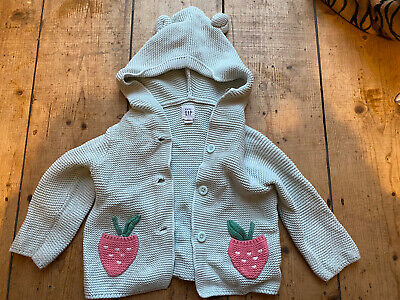 £3.99 • Buy Gap Hoodie Cardigan With Bear Ears And Strawberry Pockets 6-12 Months