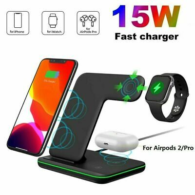 AU32.68 • Buy 3 In 1 15W Qi Wireless Charger Stand Dock For Apple AirPods IWatch IPhone 12 Pro
