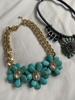 £5 • Buy Topshop Freedom Costume Jewellery Blue 3D Flower Necklace /s