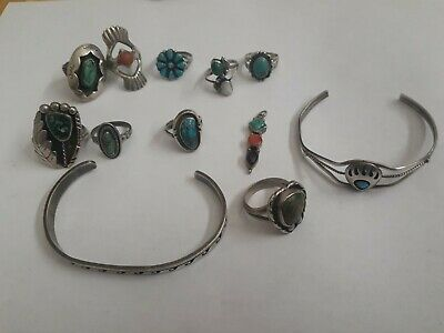 £104.19 • Buy Lot Southwestern Native Sterling Silver 925 Turquoise Ring Jewelry Navajo Coral