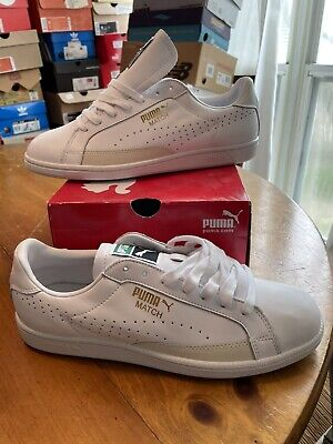AU100.22 • Buy DEADSTOCK PUMA Match 74 All White Leather Style#358673-01 US Men's 10 Gold Logo