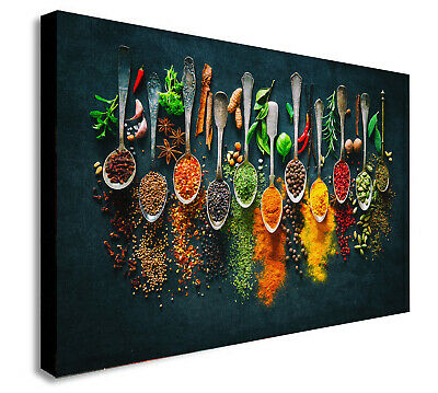 £12.99 • Buy Herbs And Spices Spoons - Canvas Wall Art Framed Print - Various Sizes
