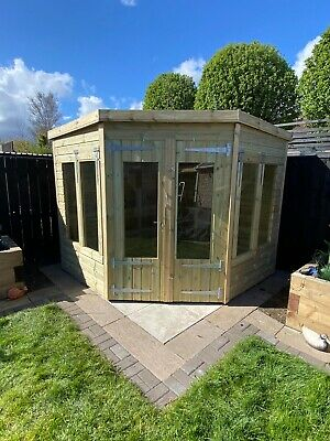 £2050 • Buy Garden Shed Corner Summer House Tanalised Ultimate Heavy Duty 8x8 22mm T&g. 3x2