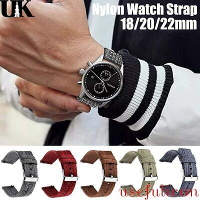 £4.79 • Buy Soft Woven Nylon Watch Band Sport Strap 18/20/22/24mm Military-Style Replacement