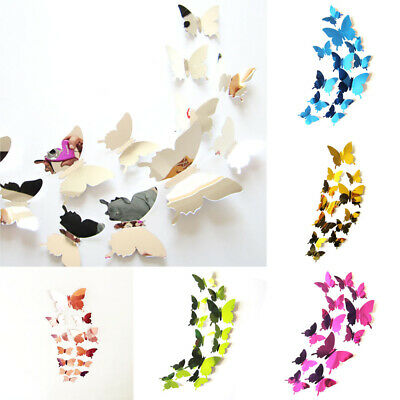 £5.85 • Buy Gold/plated Cardboard Three-dimensional Butterfly Wall Stickers Home Decoration