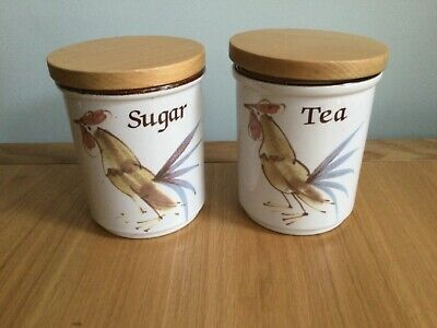 £24 • Buy VINTAGE Grayshott Pottery Cockerel Tea And Sugar Canisters With Lids. VGC