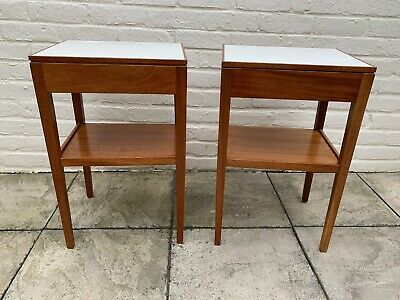 £51 • Buy Retro Pair Of Teak Bedside Tables Cabinets Mid Century Vintage Military Remploy