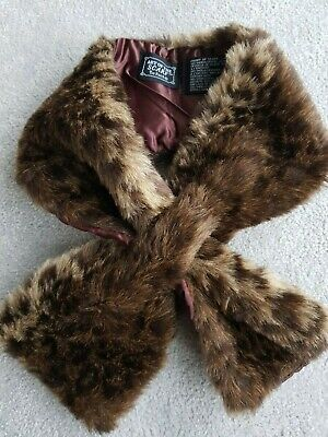 £4.99 • Buy Tie Rack Brown Faux Fur Scarf Tippet Collar Wrap New Without Tags