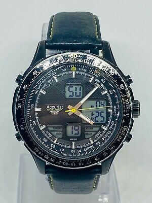 £0.99 • Buy Accurist Skymaster MS930BY CAL.BJ3547 Gent Digital Watch Black Leather Strap