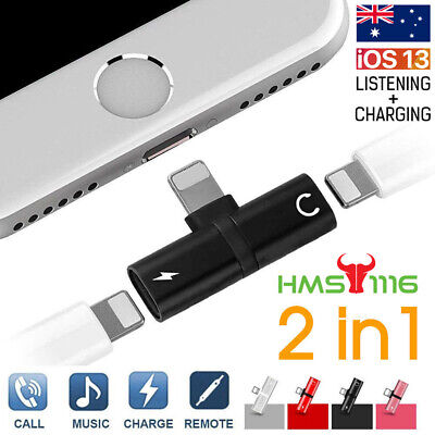 AU4.75 • Buy Audio Headphone Adapter Charger Splitter For IPhone 12 11 Pro Max 7 8 Plus Xs