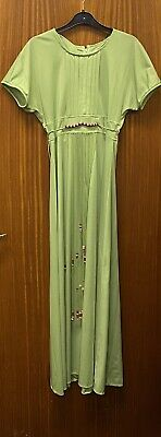 """£29.99 • Buy Simon Ellis Size 14 Green Vintage Dress With Beaded Detail  Bust 36"""" Hips 38"""""""