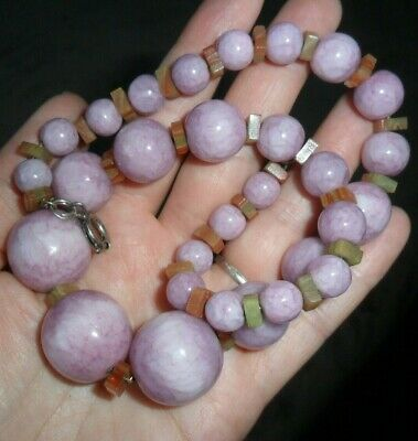 £42.50 • Buy Vintage Jewellery Antique Art Deco French ? Glass Mottled Pinky Beads Necklace