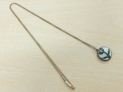 £58 • Buy Antique Rolled Gold Micro Mosaic Pendant Necklace 1900