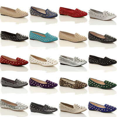£4.99 • Buy Womens Ladies Girls Flat Studded Slippers Loafers Slip On Dolly Pumps Shoes Size