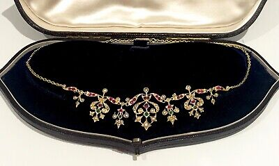 £975 • Buy Antique Victorian Rubies, Emeralds And Pearl Necklace -18ct Solid Gold -16.93 Gr