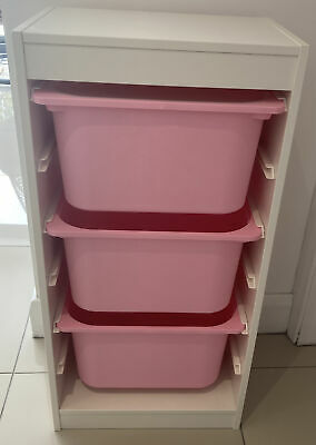 £19.99 • Buy Ikea Trofast Storage Unit Childs Pink Bedroom Toy Storage With Boxes