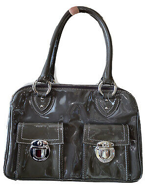 £429.18 • Buy New $1195 Marc Jacobs Blake Taupe Patent Leather Bag Double Handle Silver Tone