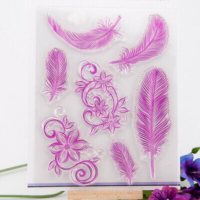 £4.29 • Buy Feathers & Floral Silicone Clear Stamp Card Making Paper Craft Photo Album Stamp